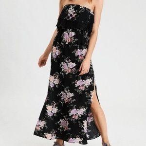 AE Black Floral Strapless Side Slit Maxi Dress NWT